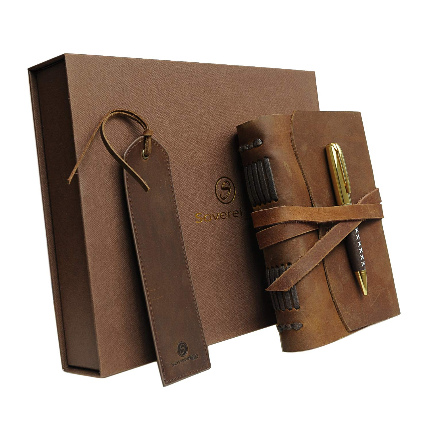 Leather Journal Gift Set with Antique Leather Bookmark + Pen, Handmade Writing Notebook 7x5 Inches Unlined Leather Bound Daily Notepad for Men & Women, Best Luxury Gift Box Travel Diary for All Ages