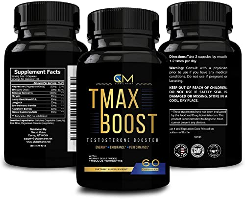 Testosterone Booster for Men – Tribulus Saw Palmetto Supplement – Stamina Strength Endurance – Ultra Boost Performance – Fast Recovery Burner Capsules TMAX Boost 60 Capsules