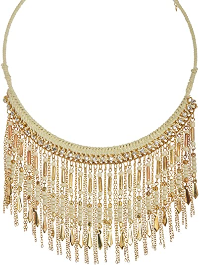 New Long Gold Chain Oval Stone Tassel Necklace Bohemian Design Fashion Jewelry