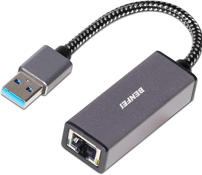 USB auf Ethernet Adapter BENFEI USB 3.0 zu RJ45 1000Mbps Ethernet LAN Netzwerkadapter Vista Kompatibel f/ür Laptop,PC mit Windows 7//8//10 XP Nylon geflochten/&Aluminum Alloy Mac