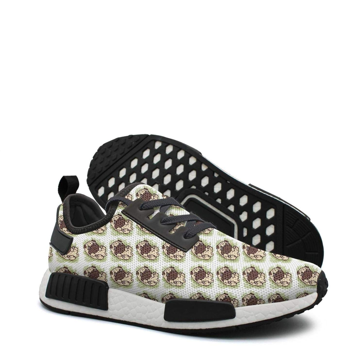 0e05c80a85eae Amazon.com: Cute Pug Pattern Background mesh lightweight shoes for ...