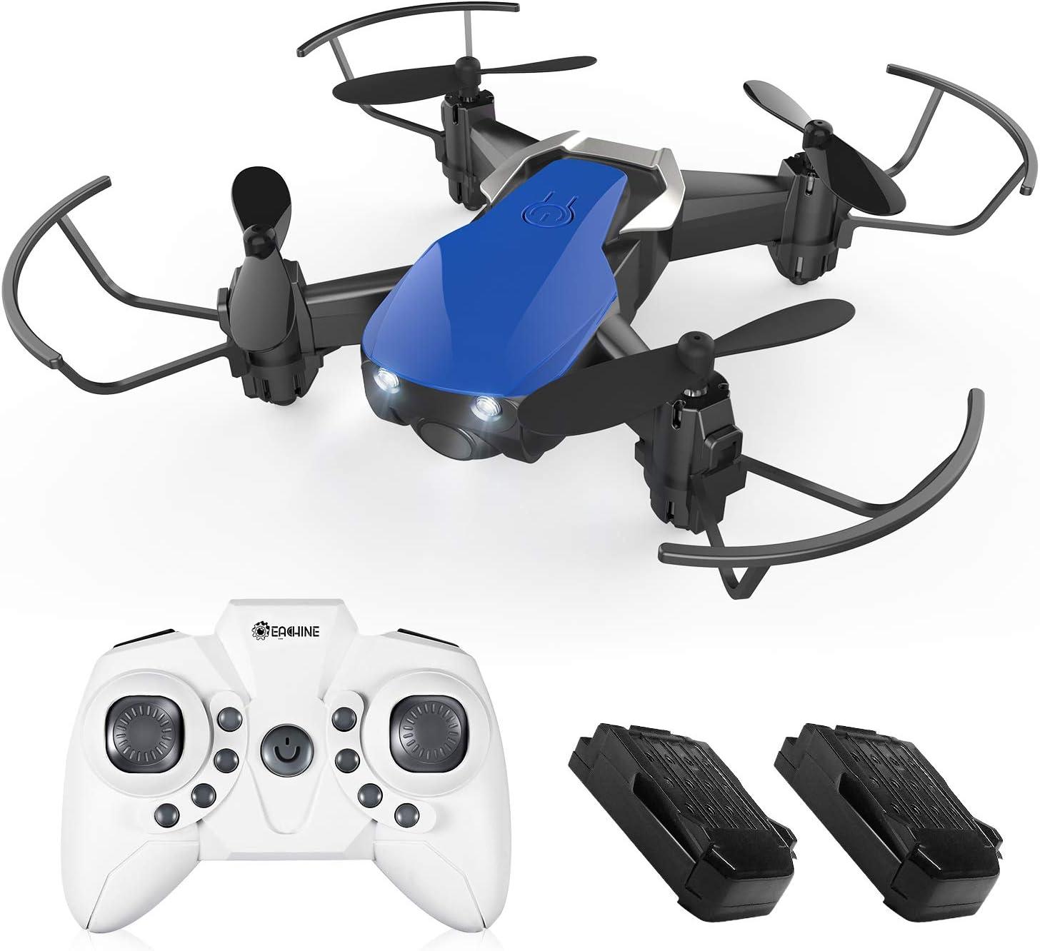 EACHINE E61H Mini Drones para Niños Adultos Principantes Modo de Control de Altitud Modo sin Cabeza 3D Flips Rollos LED Luz Drone Ligero con 2pcs Batería (Azul): Amazon.es: Juguetes y juegos
