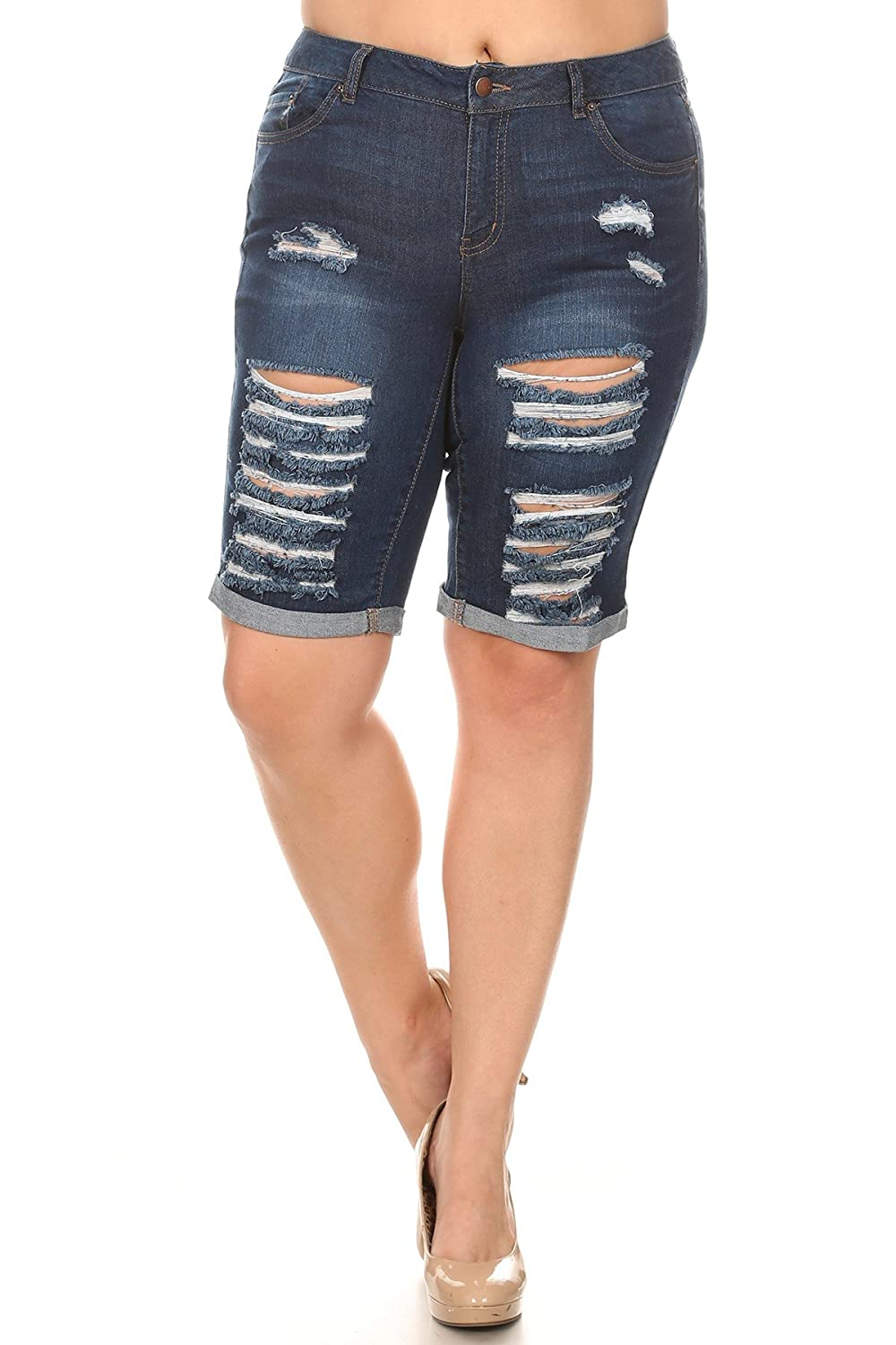 Women's Plus Size Mid Length Cuffed Denim Jean Shorts