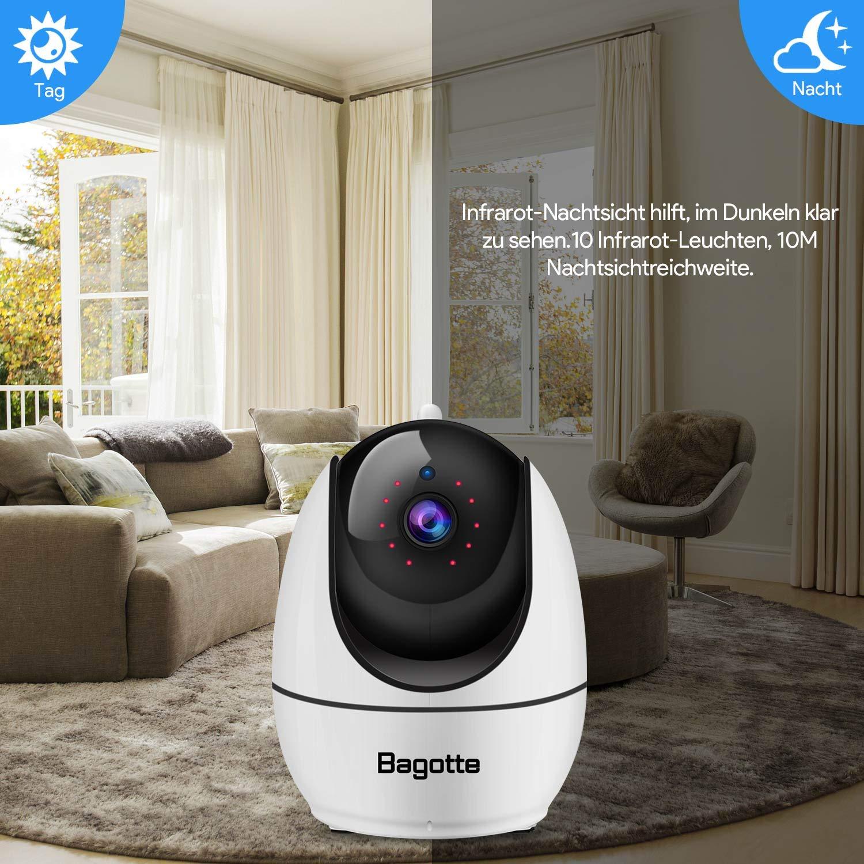 Bagotte WLAN IP Kamera,1080P mit 355/°//110/°Schwenkbar Home und Baby Monitor mit Nachtsicht Zwei-Wege-Audio unterst/ützt Fernalarm und Mobile App Kontrolle /Überwachungskamera Bewegungserkennung