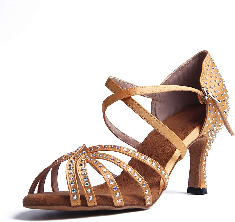 Syrads Chaussures de Danse Latine Femmes Salsa Bachata Moderne Tango Valse Chaussures Danse De Salon avec des Strass 1056