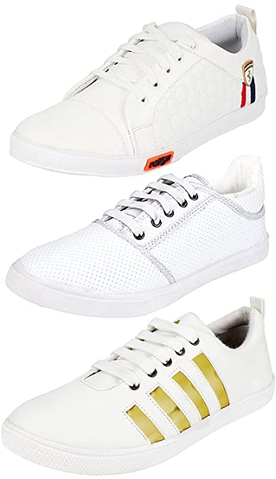 d8181c427c2327 Ethics Perfect White Sneaker Shoes Combo Pack of 3 for Men (8): Buy ...