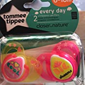 Tommee Tippee Closer to Nature Everyday Pacifier, BPA-Free, Bottle Shapped Nipple, Pink, 6-18...