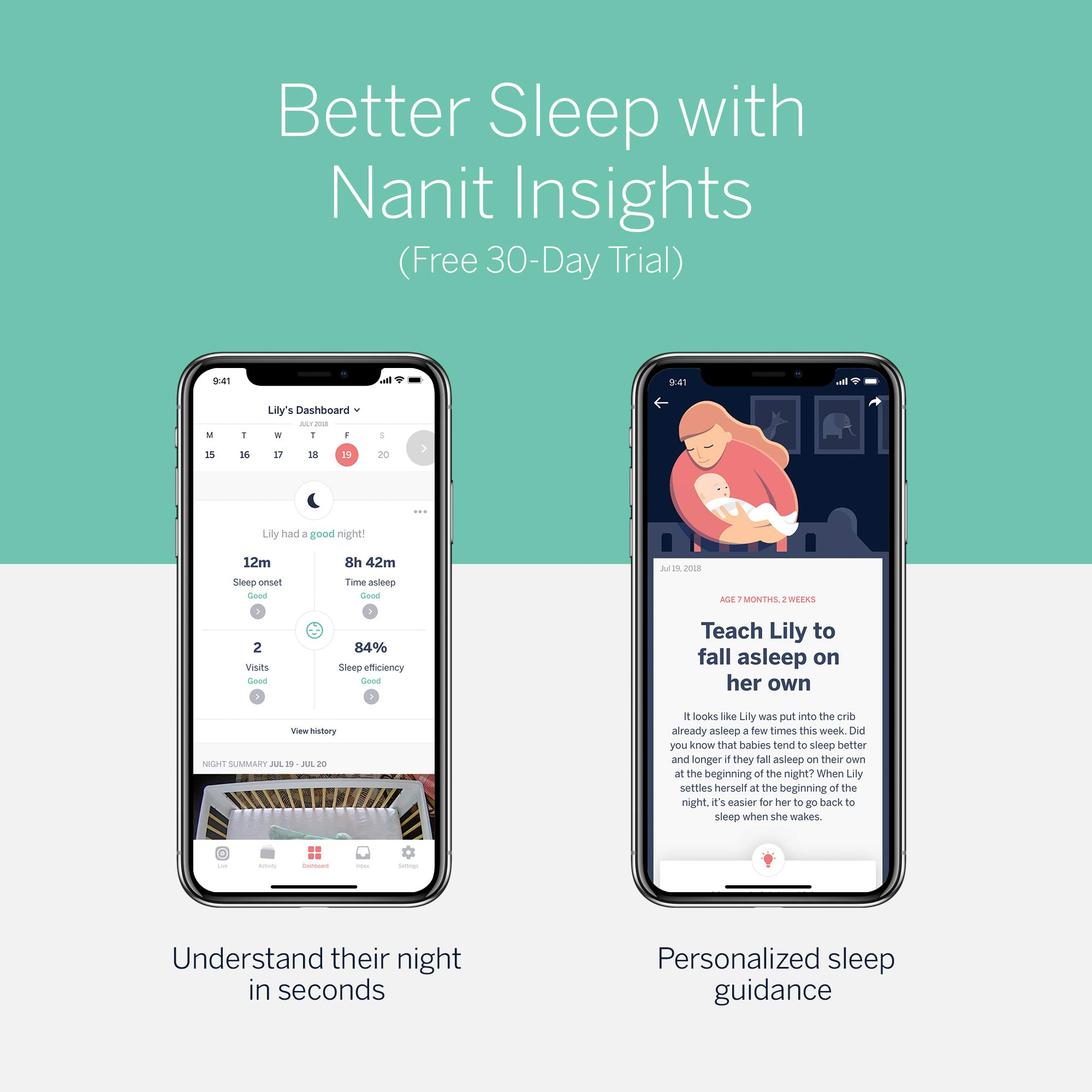 Nanit Smart Baby Monitor and Wall Stand - Camera with HD Video & Audio, Sleep Tracking, Night Vision, Temperature & Humidity Sensors, and Nightlight by Nanit (Image #5)