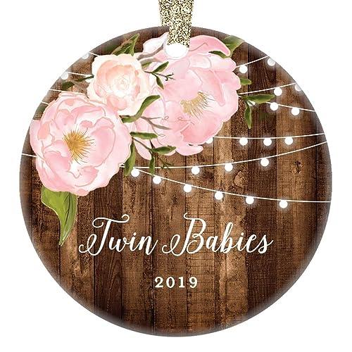 Christmas Gifts For Mom 2019.Amazon Com Twin Babies Christmas Ornament Newborn Twins