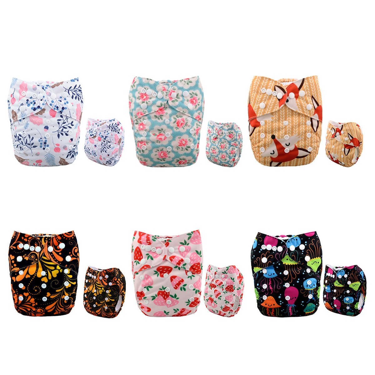 Alva Baby 6pcs Pack Fitted Pocket Cloth Diaper with 2 Inserts Each (Boy Color) 6DM12 Alvababy