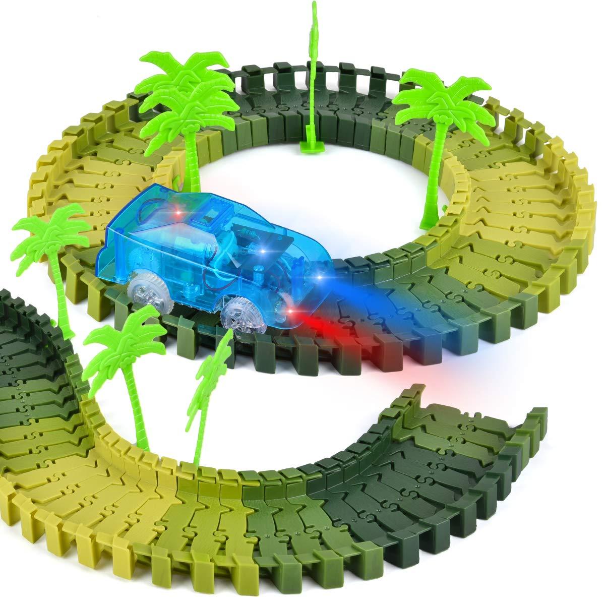 Gelb, Blau, Lila Funkprofi Spielzeugautos f/ür Kinder ab 2 Jahre alt 3 Pack Kinderspielzeug Auto Track Cars mit 5 LED Lichter Rennauto Rennwagen Leuchtender Elektrischer Eisenbahnwagen