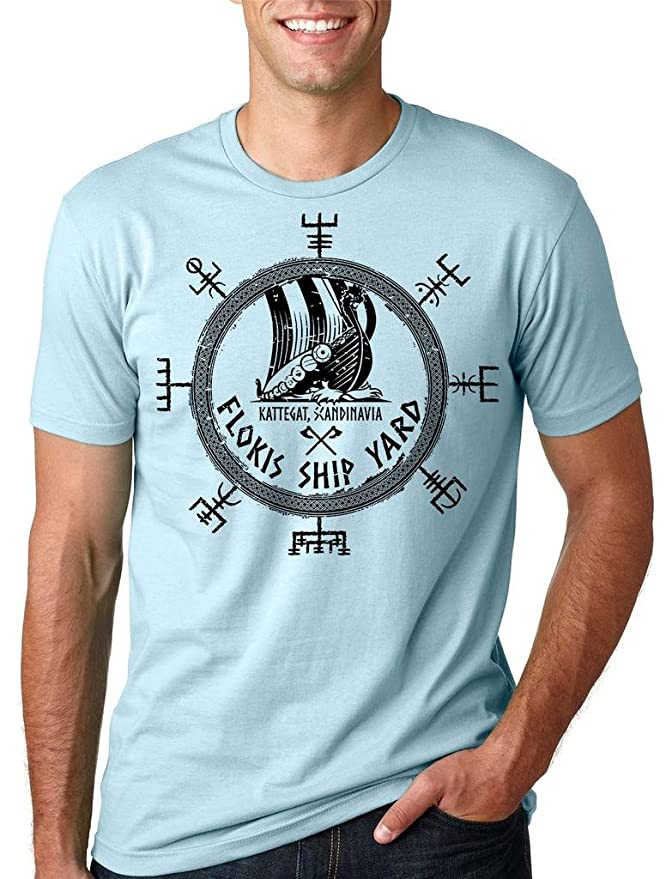 cc32cd9d Amazon.com: Silk Road Tees Floki's Shipyard T-Shirt Funny Vikings Valhalla  Rune Tee Shirt: Clothing