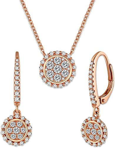 Vintage Wedding Necklace Earrings Rose Gold Shiny Crystals Jewellery Set Gift