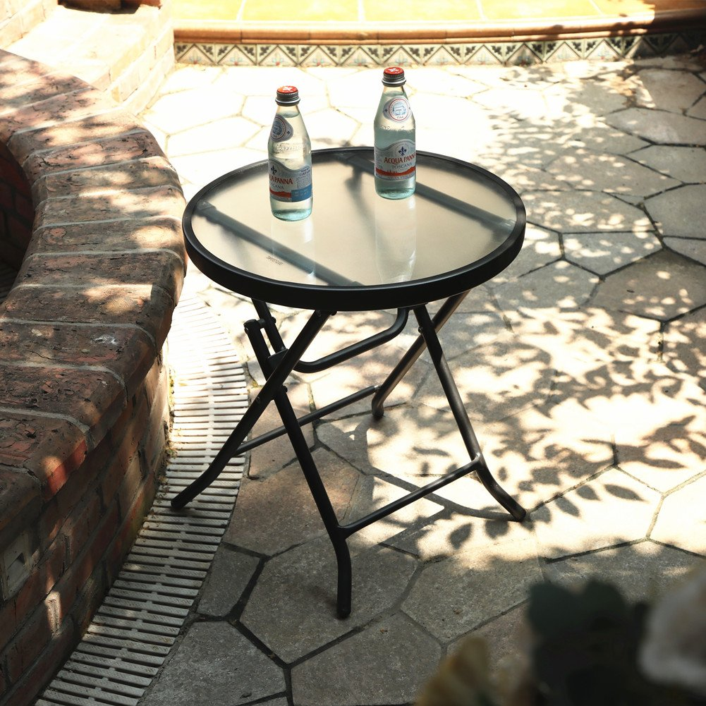 Captiva Designs 18'' Patio Small Side Table-Little Folding Glass Table, Clear by Captiva Designs (Image #3)