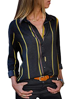 86e99ca7f24be7 The Aron ONE Women's Casual Long Sleeve V Neck Stripes Chiffon T-Shirt  Button Down