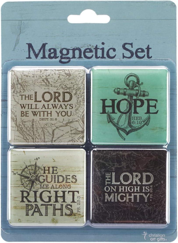 Christian Art Gifts Nautical Refrigerator Magnets | Hope As An Anchor - Hebrews 6:19 Bible Verse | Inspirational Fridge Magnet Set/4