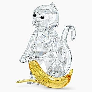 SWAROVSKI Monkey with Banana, Clear, Yellow