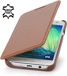 StilGut Book Type Case Senza Clip, Custodia in Vera Pelle per Samsung Galaxy A3 (2015), Cognac