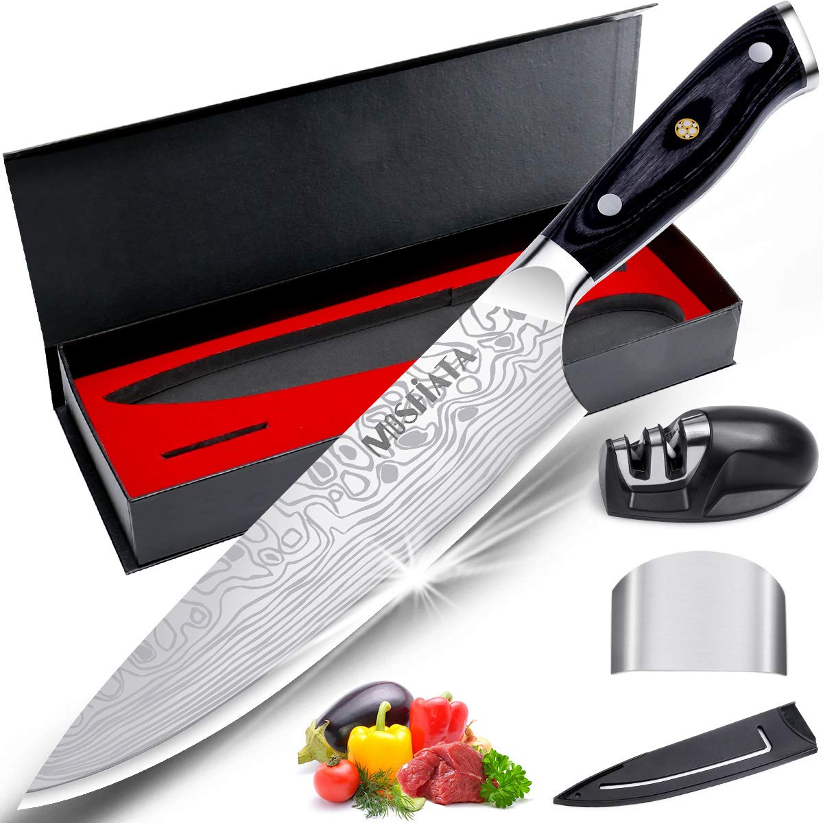 MOSFiATA 8'' Super Sharp Professional Chef's Knife with Finger Guard and Knife Sharpener, German High Carbon Stainless Steel 4116 with Micarta Handle and Gift Box by MOSFiATA