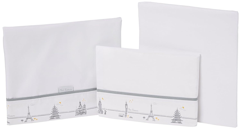 color gris cuco o mois/és Juego de 3 s/ábanas para capazo Petit Lazzari Cities 35x75 cm