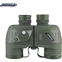Aomekie 10X50mm Top Grade Floating Marine Military Binoculars with Rangefinder and Illuminated Compass Waterproof/ Fogproof For Navigation