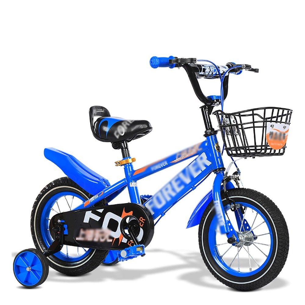 子供用自転車子供用自転車2歳から11歳12 14 16 18 20インチブルーレッドイエロー調節可能な折りたたみ式 B07FG9ZQ8Y青 14 inch