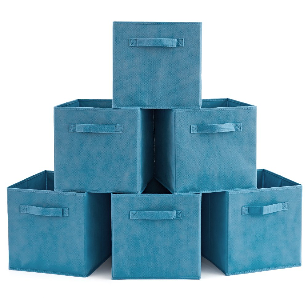 Set of 6 Basket Bins- EZOWare Collapsible Storage Organizer Boxes Cube for Nursery Home - Niagara Blue