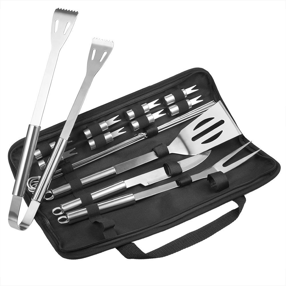 BBQ Accessories, TaoTronics 18 Piece BBQ Tool Set Stainless Steel, BBQ Grill Tools with Waterproof Storage Bag, BBQ Tools with Case, All in one, FDA Approved, Strong and Durable