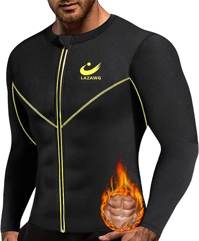 Mens Sweat Rash Guard Sauna Suit Weight Loss Top for Fitness Black Blue L