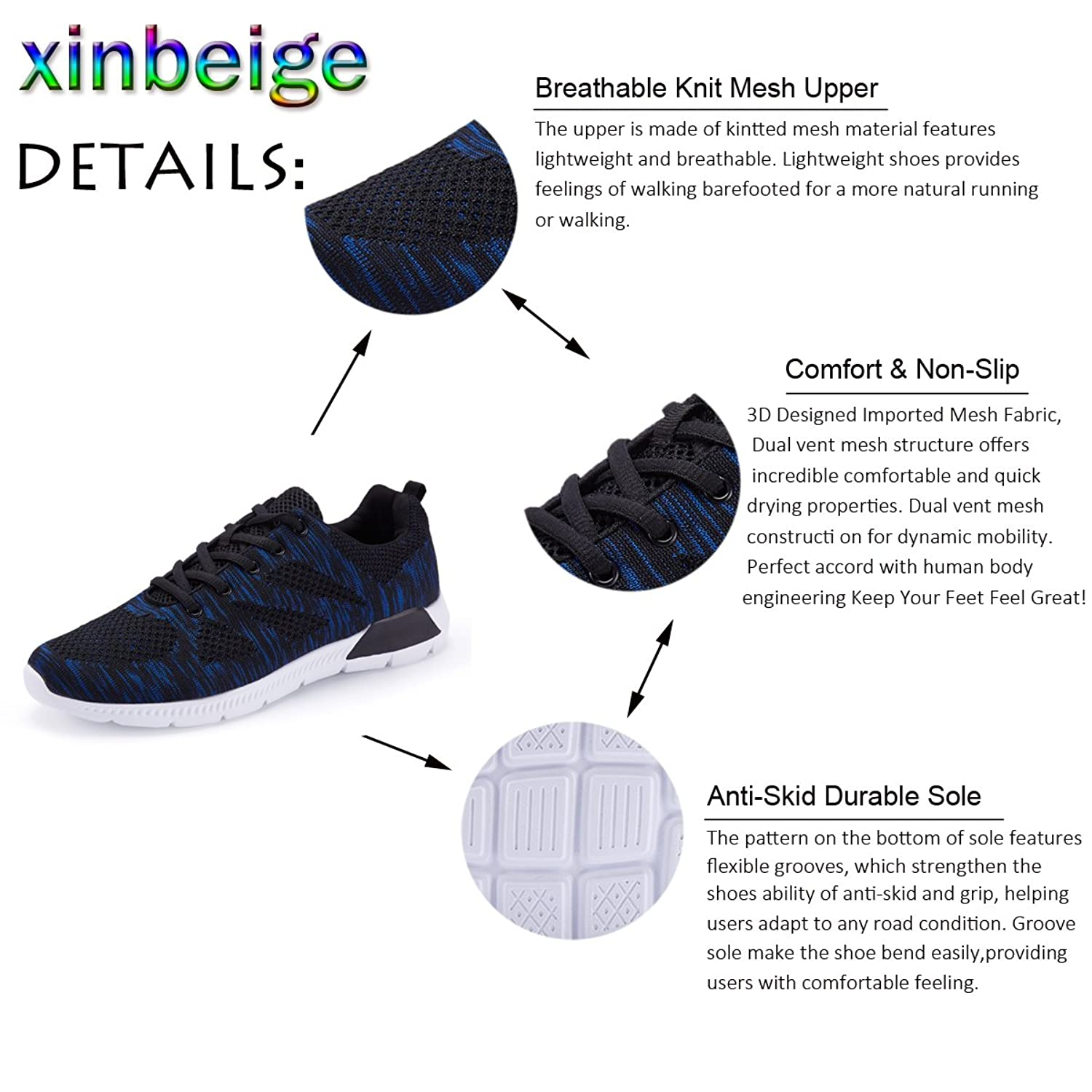 Men's Running Shoes Mesh Lightweight Sport Shoes Knit Casual Sneaker  Breathable Walking Shoes: Amazon.ca: Shoes & Handbags
