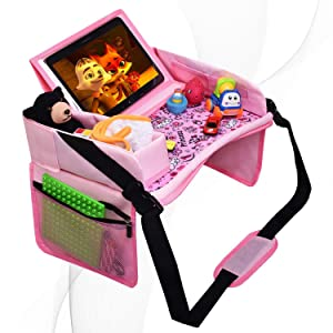 DMoose Travel Lap Activity Tray for Kids and Toddlers, Padded Comfort Base, Side Walls, Mesh Snack Pockets, Tablet Holder, Waterproof Car Seat, Stroller, Airplane Play and Learn Area (Pink)
