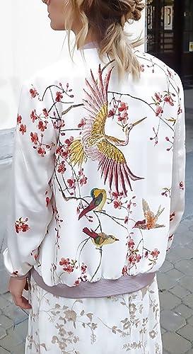 e0f15a33fc6e Damen Jacken Bomberjacke Mantel Elegant Lange Ärmel Stehkragen Mit Reißverschluss  Vintage Blumen Vogel Muster Fashion Herbst Winter Für Mädchen Fliegerjacke  ...