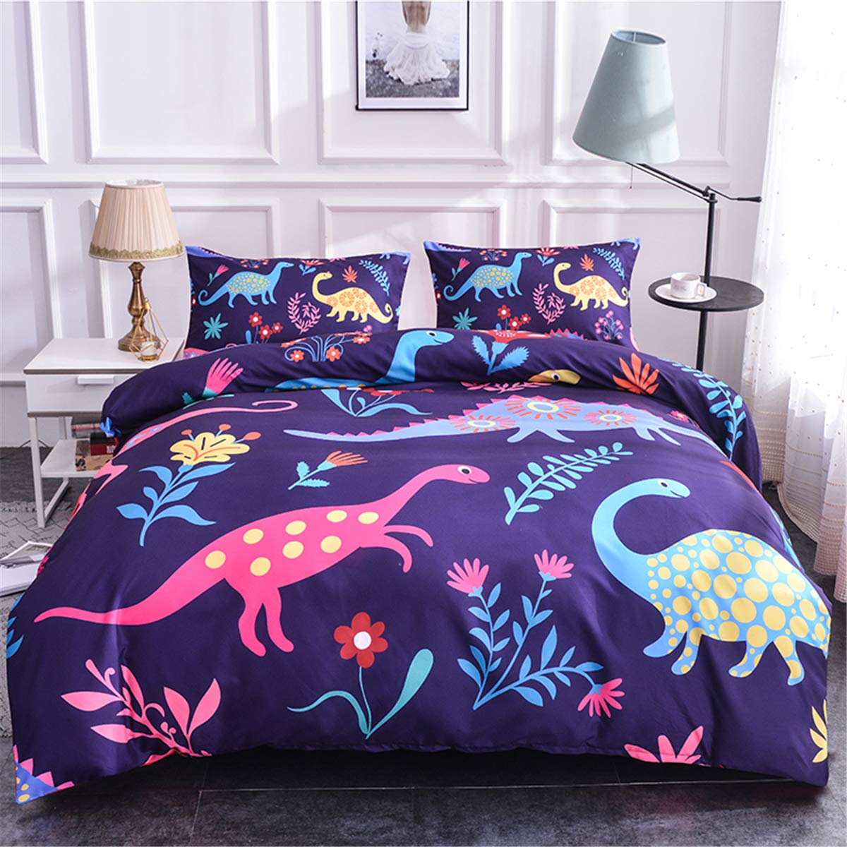 Dinosaur Flamingo Printed Boys Duvet Cover Set Twin Microfiber Puppy Floral Universal Animal Theme Cartoon Kids Girls 3D Bedding Sets (Dinosaur,Queen)