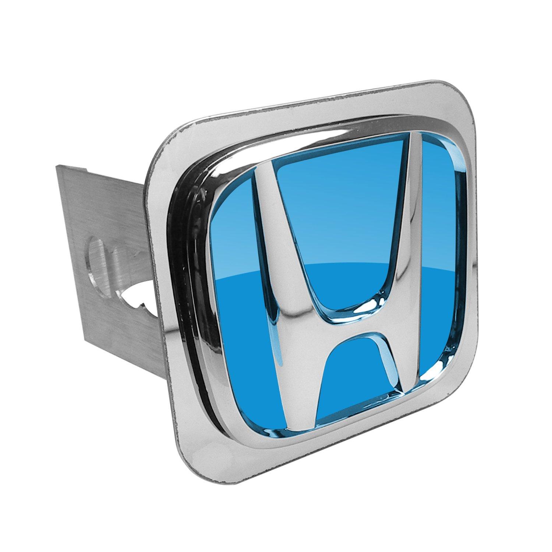 Blue Fill Chrome Trailer Hitch Plug for Honda Vehicles by Au-Tomotive Gold, INC.