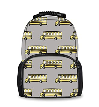 d4f9e6dc880 Amazon.com | 3D Print Water Resistant Daypack, School Bus, College school  Rucksack for Boys & Girls | Casual Daypacks