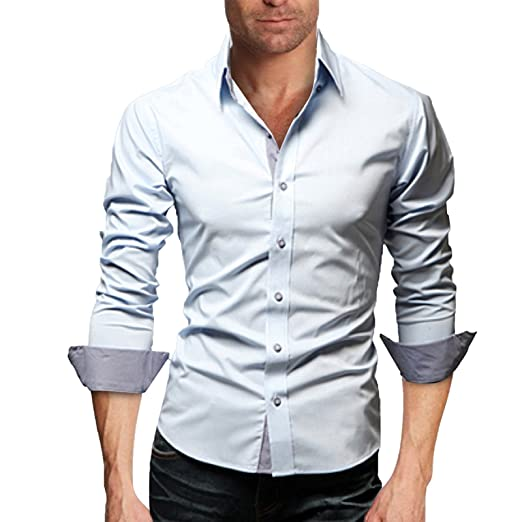 cad70a216a WSLCN Men s Elegant Plain Casual Business Dress Shirt Long Sleeve ...