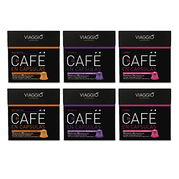 VIAGGIO ESPRESSO - 60 Cápsulas de Café Compatibles con Máquinas Nespresso - MIX INTENSO