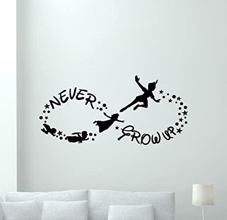 Amazoncom Peter Pan Wall Decal 40x16 Never Grow Up Quote Lettering