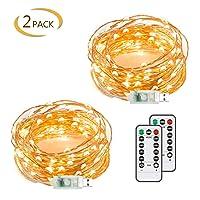 Chalpr USB Fairy String Lights, 2 Pack 50 LED 16.4Ft Led String Lights,Warm White...
