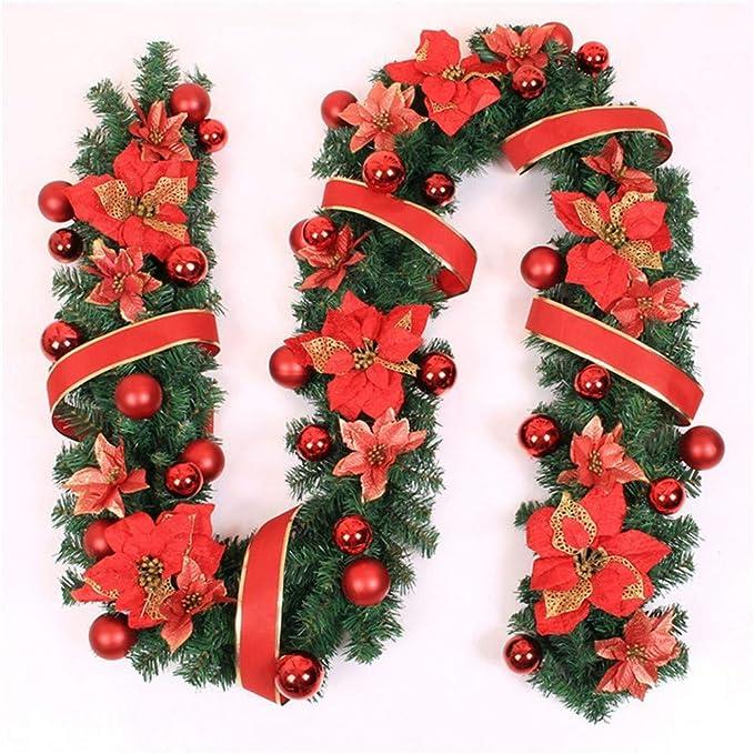 Jnseaol Coronas Guirnaldas 2.7 M Escaleras Chimenea Ventana Ventana Árbol De Navidad Decoración del Centro Comercial Gadgets De Barra De Color,Red: ...