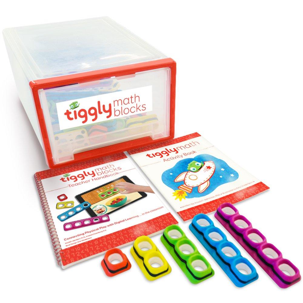 Tiggly Math Blocks School Edition: 25 manipulatives + 5 student workbooks + 1 teacher handbook