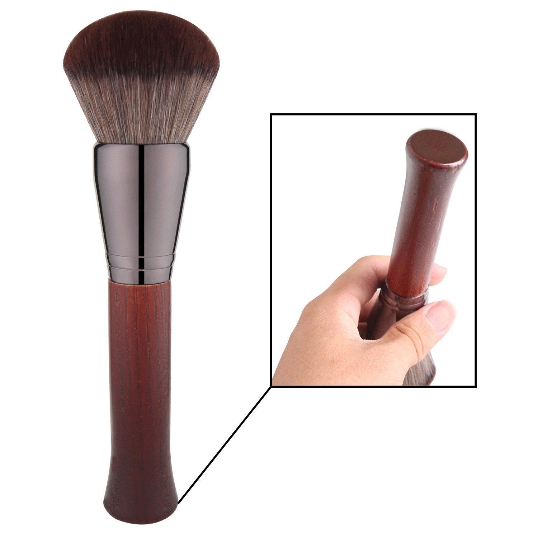 BS-MALL 1Pc Premium Synthetic Kabuki Makeup Brush Kit Solid Wood Firm Soft Big Powder Foundation Blending Brush (Shape 2)