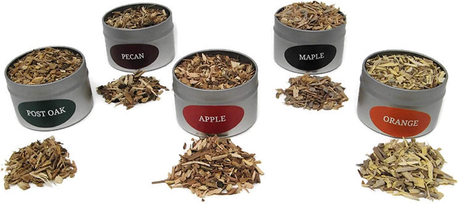 Jax Smok'in Tinder Extra Fine Smoke Gun Wood Chips Variety Pack - Five of Our Popular Premium Fine Chips in 4 Ounce Tins for Handheld Smoke Infuser (Apple, Post Oak, Orange, Maple and Pecan)