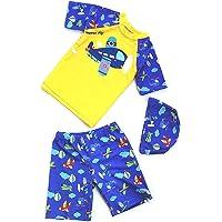 HommyFine Baby Little Boys Girls Two Pieces Swimsuit Set Cartoon Dinosaur Airplane Swimwear Rash Guards with Sun Hat…