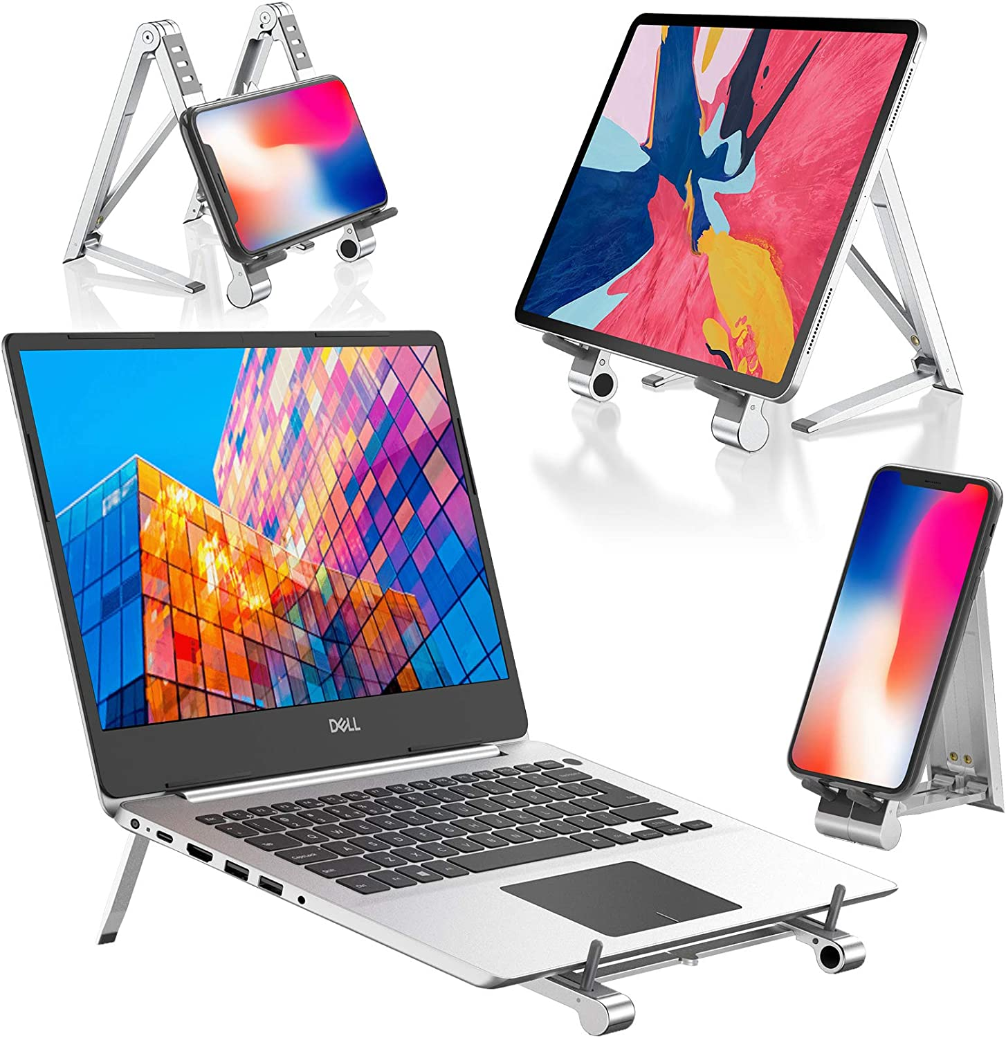 LOFTer Laptop Riser Stand Portable Tablet Adjustable Holder Ergonomic Computer Notebook Stand for Desk Foldable Phone Stand Laptop Lift Compatible MacBook Air Pro/ Dell XPS / iPad / iPhone 4-17""