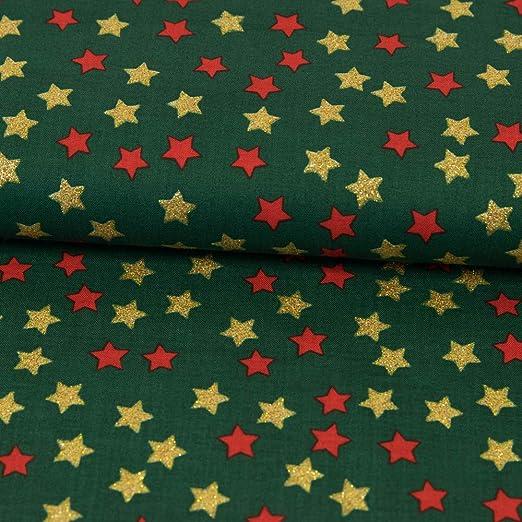 Tela de algodón con estrellas de Navidad, brillante, dorado, rojo ...