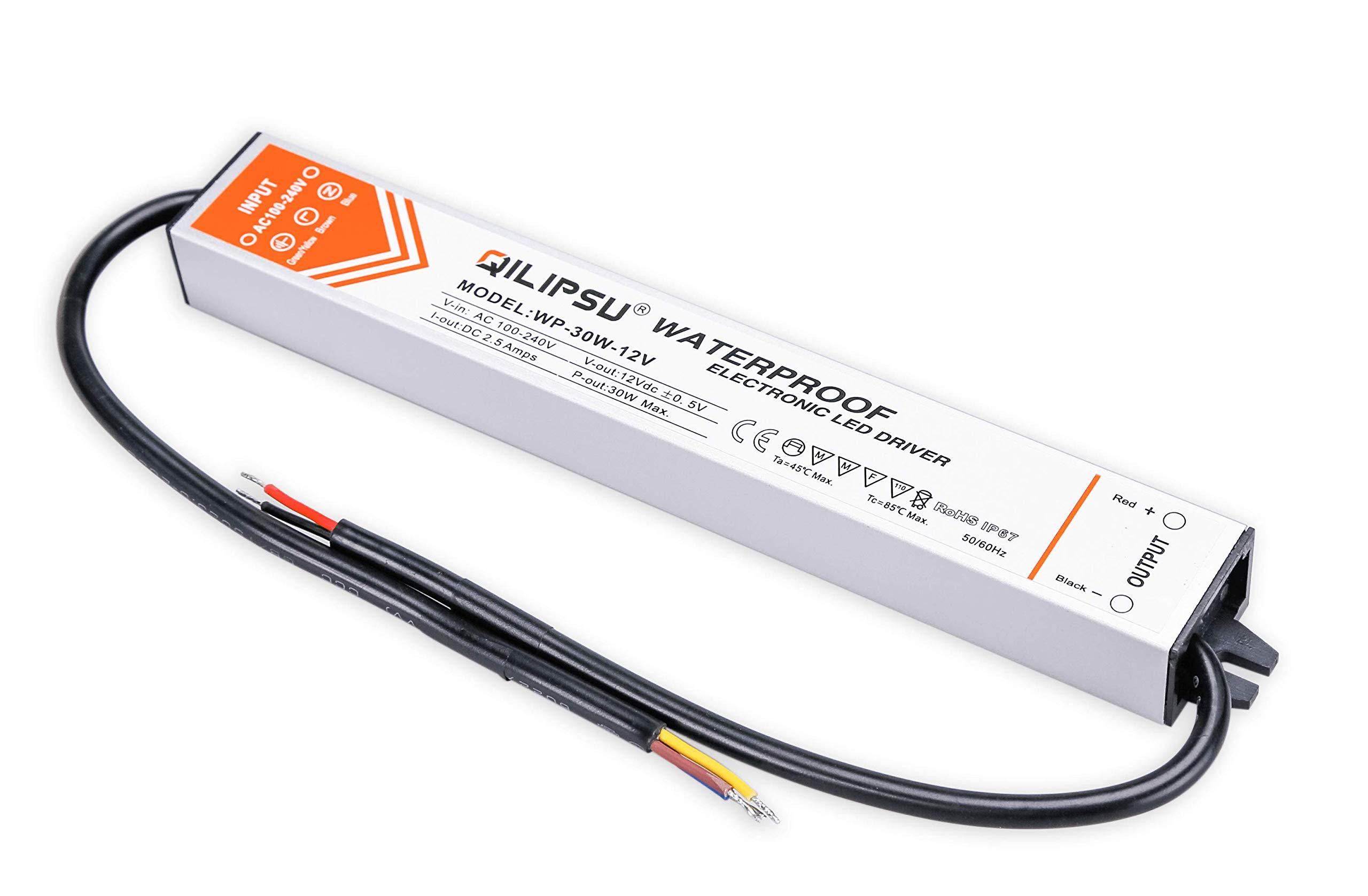 QILIPSU 30W 12V LED Driver IP67 Waterproof LED Power Supply DC Output Transformer (30W)
