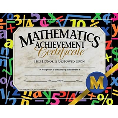 "Hayes Mathematic Achievement Certificate, 8.5"" x 11"", Pack of 30: Toys & Games"