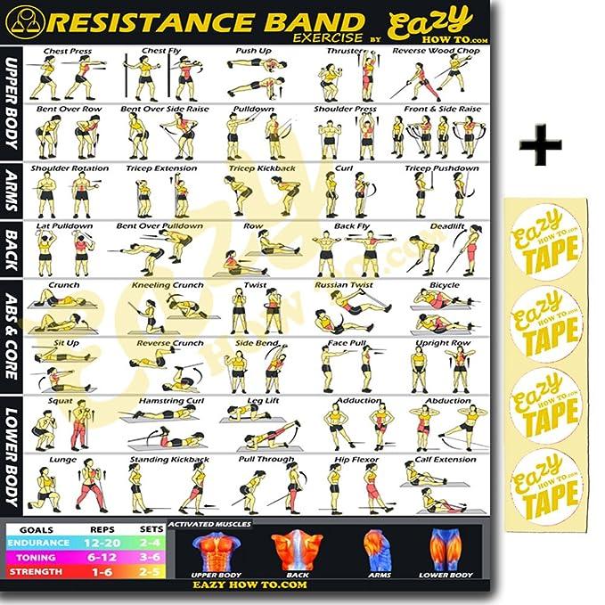 Eazy cómo a banda de resistencia ejercicio entrenamiento Banner Póster grande 51 x 74 cm tren Endurance, tono, construir fuerza & Músculo Gimnasio en casa ...