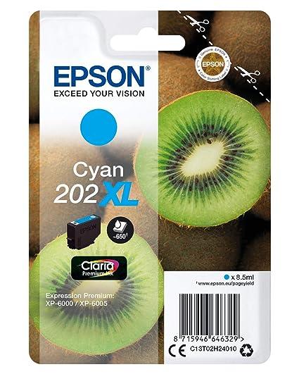 Epson 202XL - Cartucho de tinta para impresoras, cian, 8.5 ml, 650 ...